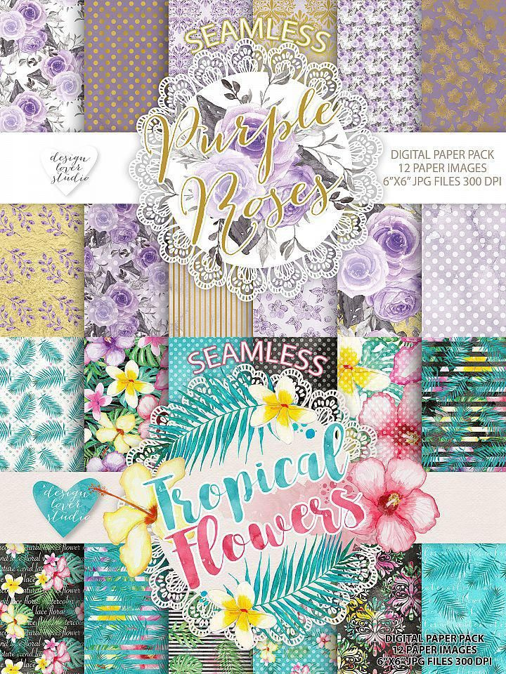Big collection of watercolor flower repeating backgrounds