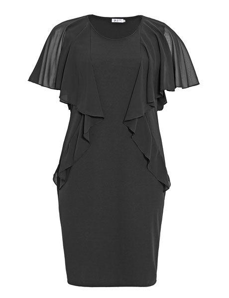 Kleid mit Volants, schwarz – Elke Grimm