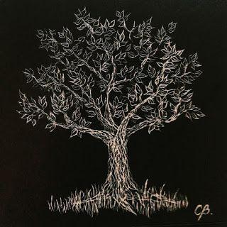 Arbol de la Vida III, tallografía, 27 x 27 cms, enmarcado, @copyright Carolina Busquets.