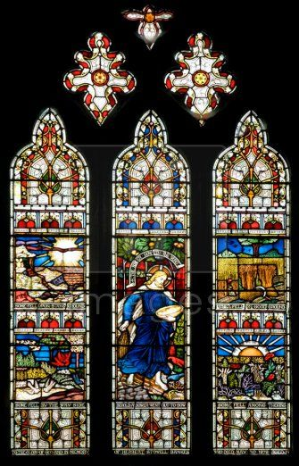 Stained Glass Windows At St Edward The Martyr Church Castle Combe Dorset England