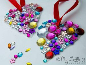 Bejeweled Jug Suncatchers are a simple and stunning Valentine's Day craft for kids to make.