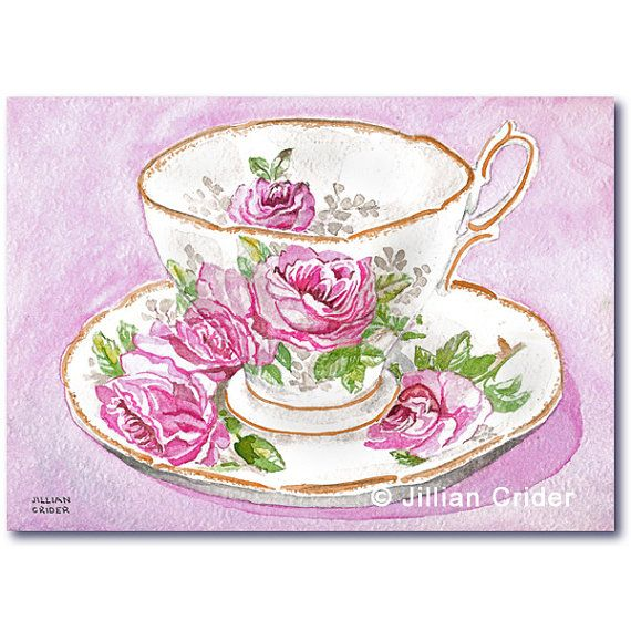 "My original watercolor painting now available as original + professionally printed giclee prints on Etsy. SFA - 5x7"" Royal Doulton teacup and saucer. Vintage memories from my childhood. https://www.etsy.com/listing/163609237/royal-doulton-teacup-pink-roses-original?"