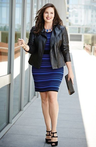 Sejour Leather Jacket & Taylor Dresses Sweater Dress (Plus Size)  available at #Nordstrom