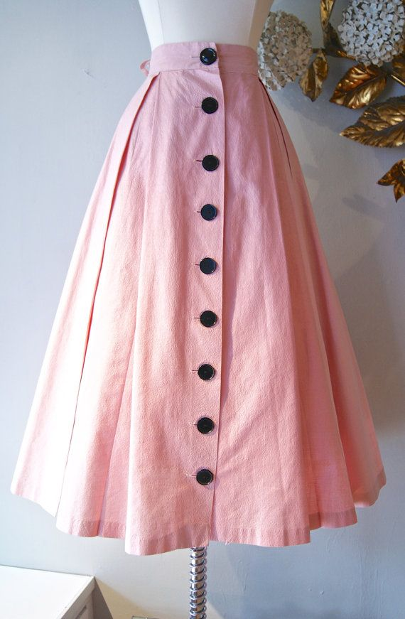 50s Skirt // Vintage 1950s Pink and Black Full by xtabayvintage, $98.00