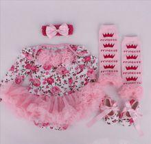Комплект для новорожденной принцессы: платье + повязка на голову + обувь + леггинсы 4 шт./компл. Цветочный принт