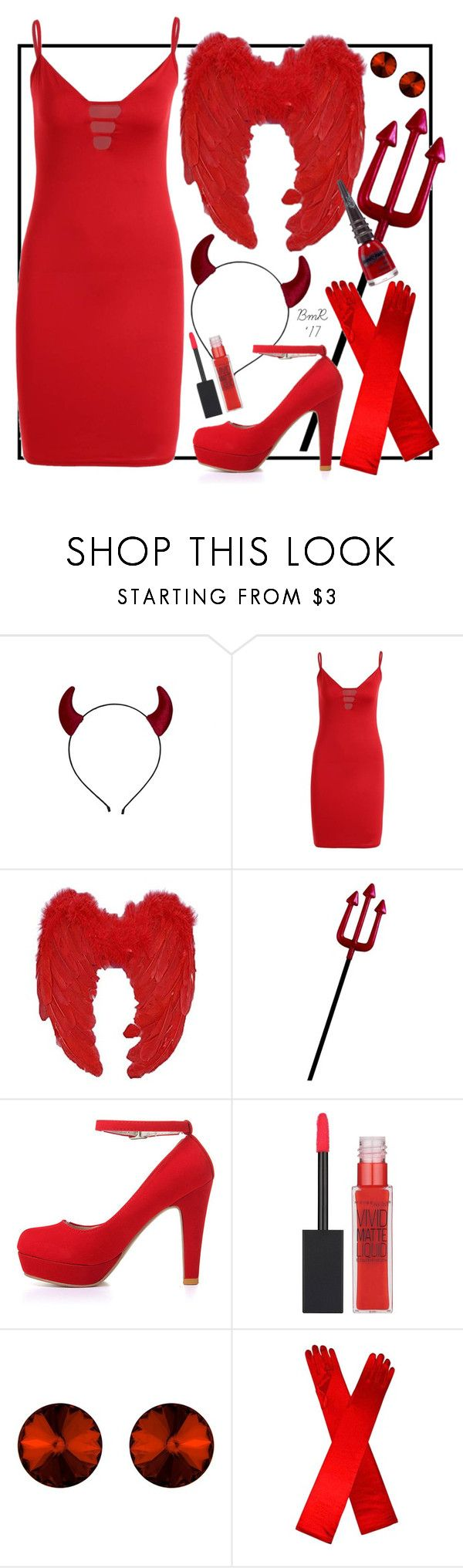 """Lil' Devil"" by barbmama ❤ liked on Polyvore featuring Rubie's Costume Co., Maybelline, Manic Panic NYC, Halloween, under50, polyvorecontest and halloweencostume"