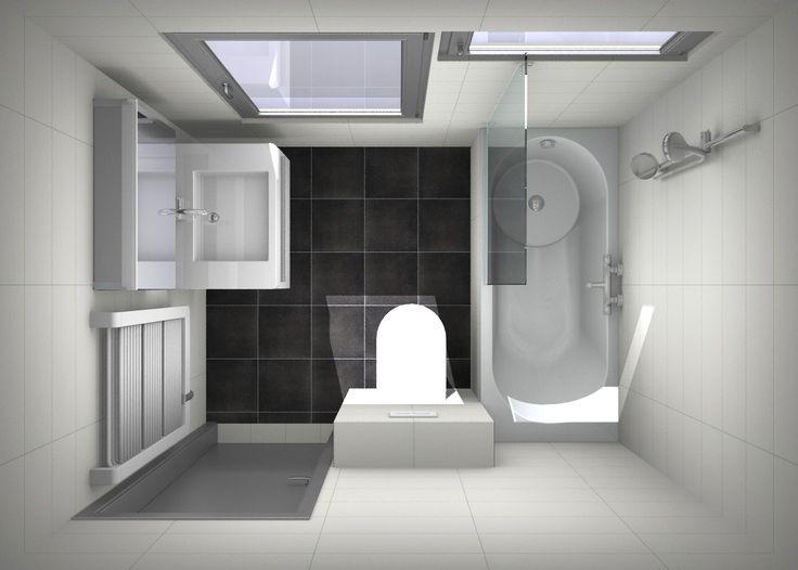 Voorbeeld ontwerp douchen in bad, kleine #badkamer