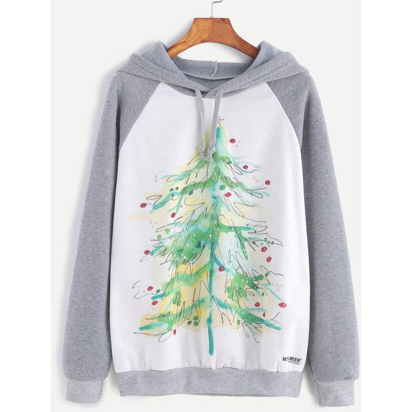 SheIn(sheinside) Color Block Christmas Tree Print Hooded Sweatshirt (€16) ❤ liked on Polyvore featuring tops, hoodies, white hoodies, pullover hoodies, hooded sweatshirt, white hoodie and grey pullover hoodie