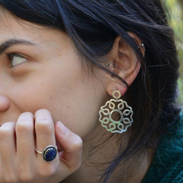 Rosette sterling silver earrings. (Photoshop by ioanna morfinou)
