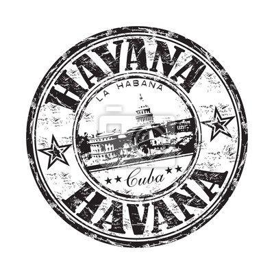 Papier peint La Havane grunge rubber stamp