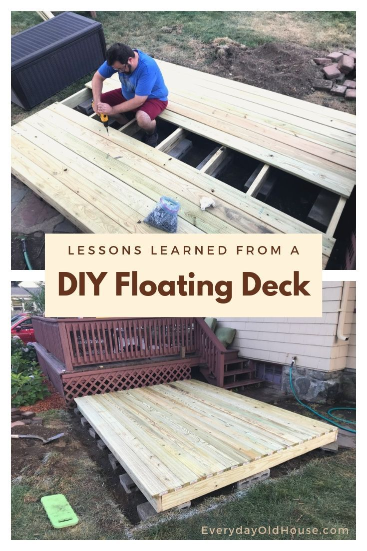 3 Lessons Learned By Building The Spruce S Floating Deck For Under 300 Floating Deck Building A Floating Deck Deck