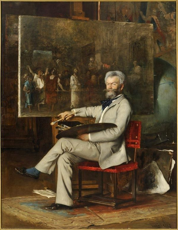 The Artist Mihály Munkácsy In His Studio by Hans Temple (Austrian 1857-1931) ....a Hungarian painter, who lived in Paris and earned an international reputation with his genre pictures and large scale biblical paintings.