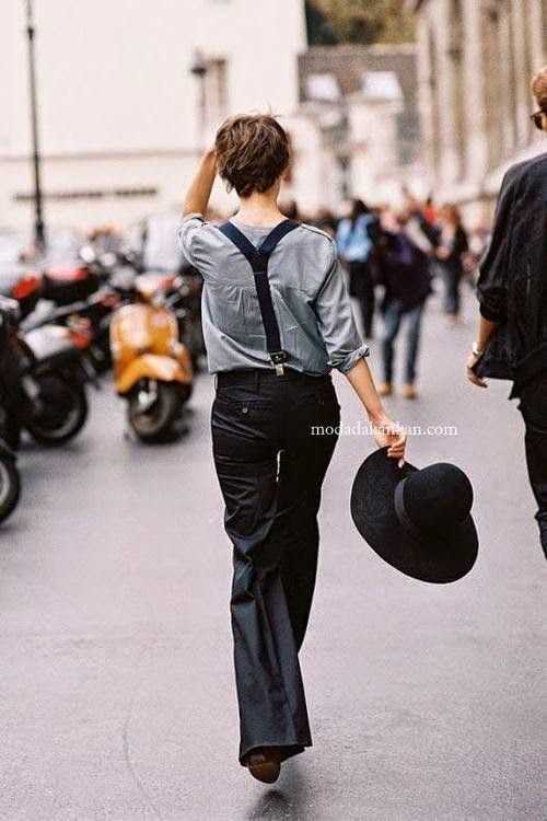 Bayan Pantolon Askısı Modası 2014-2015