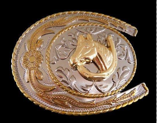 2 Tone Metal Western Belt Buckle Horseshoe Horse Head Belts Buckles #western…