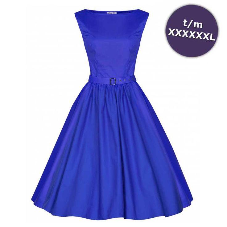 Lindy Bop Blauwe Swing Audrey vintage, 50's, rockabilly lange jurk - R