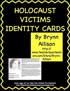 """These FREE identity cards are designed to help students make personal connections with the victims of the Holocaust, and could be used before a novel study or a history lesson. Included: *37 ID cards (Jewish, Roma, Jehovah's Witnesses, accused homosexuals, mentally ill, and the """"righteous"""") *a """"newspaper"""" revealing the fates of all 37 victims *usage guide with related Common Core standards"""