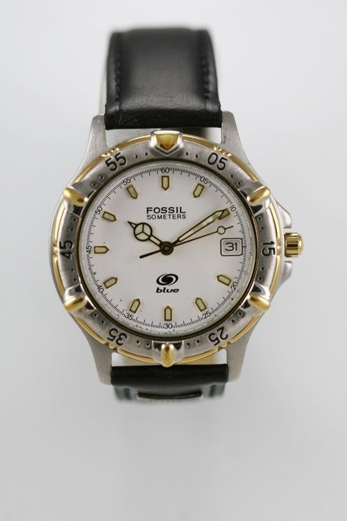 Fossil Blue Watch Mens Gold Silver Stainless Date White 50m Leather Black Quartz