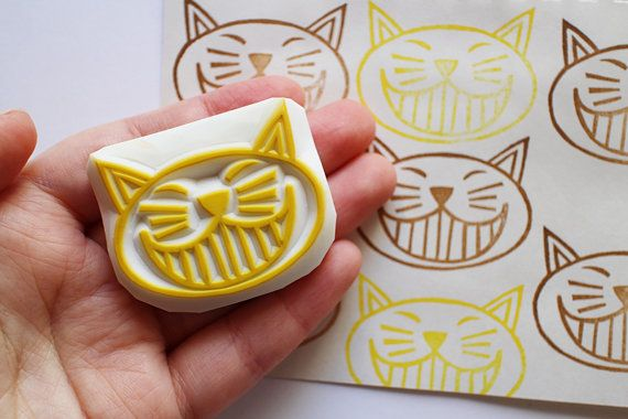 cat rubber stamp. cat face stamp. hand carved rubber stamp. hand carved stamp. chubby cat. craft with children. fun stamping projects.