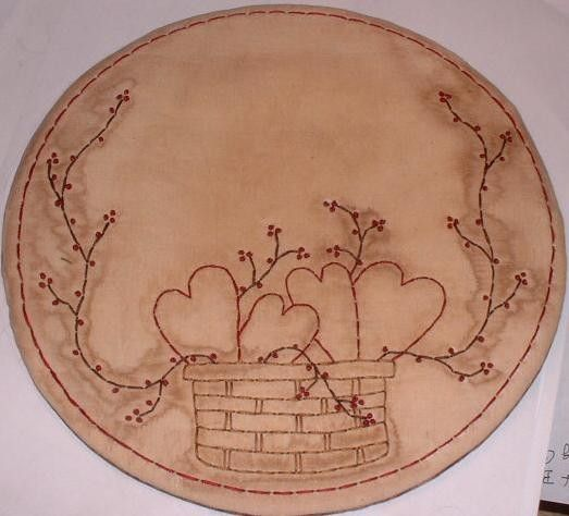Primitive Stitchery PATTERN Basket of Hearts and by thetalkingcrow