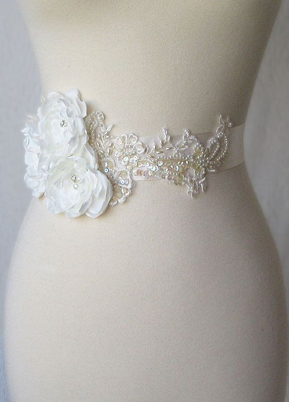 Ivory Bridal Sash Wedding Belt with Handmade by TheRedMagnolia, $145.00