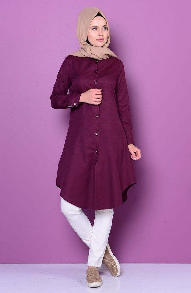 Long Sleeve Shirt - Color: Burgundy - Size: XSmall, Small, Medium, Large - Material: Cotton 65% Polyester 35%, Unlined with Buttons. - Tunic is very light and comfortable. - Cool in the summer. - Work