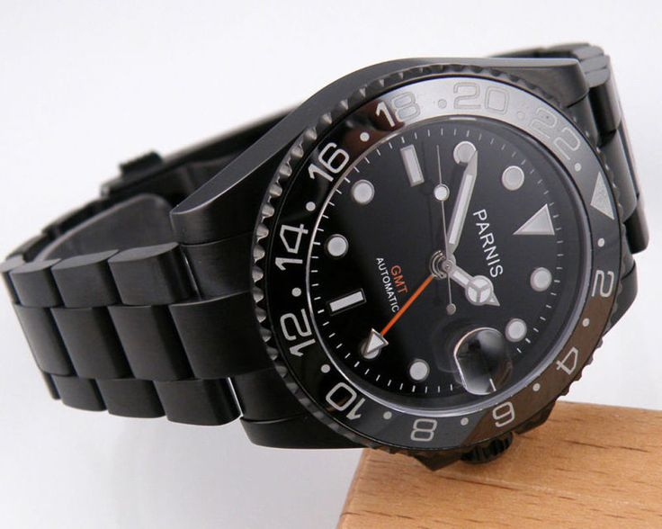 40mm Parnis GMT Automatic Movement Men's Luxury Watch Sapphire PVD Black Case #Parnis #Luxury