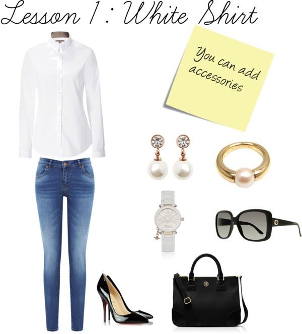 """Lesson I : white Shirt"" by seliriana on Polyvore"