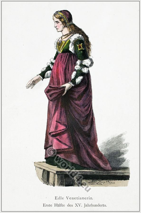 Venetian renaissance costume in first half of 15th century. Late medieval noblewoman costume.