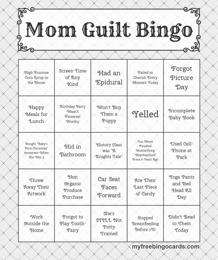 play mom guilt bingo on your mobile or tablet also look out for new dad guilt bingo mops. Black Bedroom Furniture Sets. Home Design Ideas