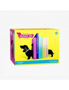 Sujeta libros perro salchicha