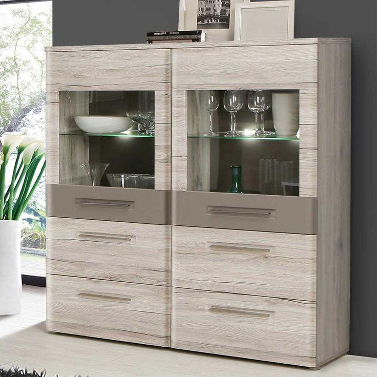 highboard in eiche hell beleuchtung jetzt bestellen unter. Black Bedroom Furniture Sets. Home Design Ideas