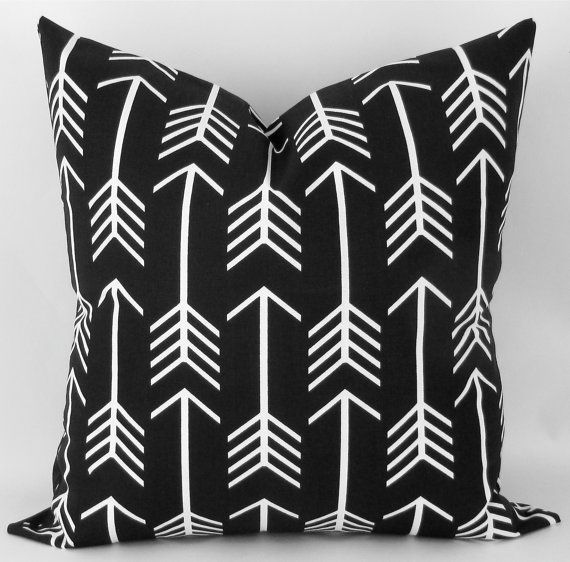 Black Arrow Pillow Cover -MANY SIZES- Black & White Throw Pillow, Euro Sham, Cushion Cover ...