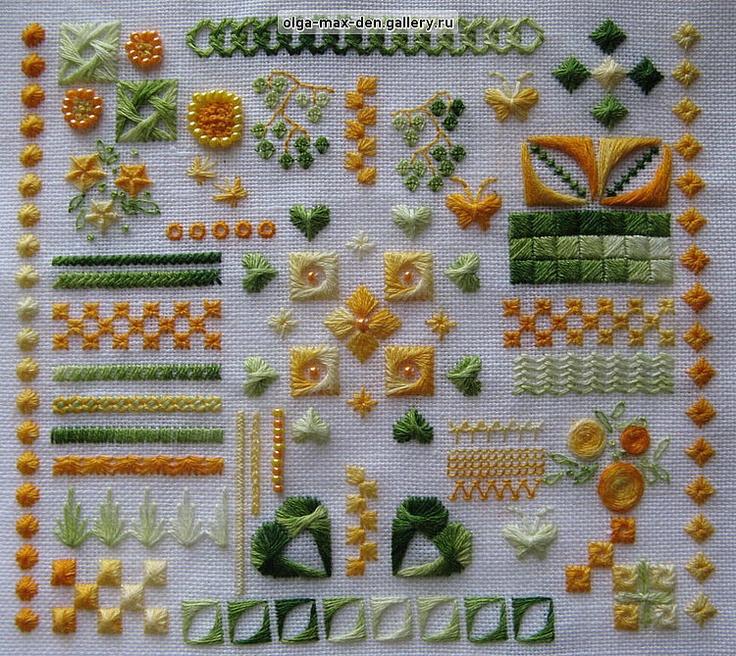 Basic embroidery stitches sampler makaroka
