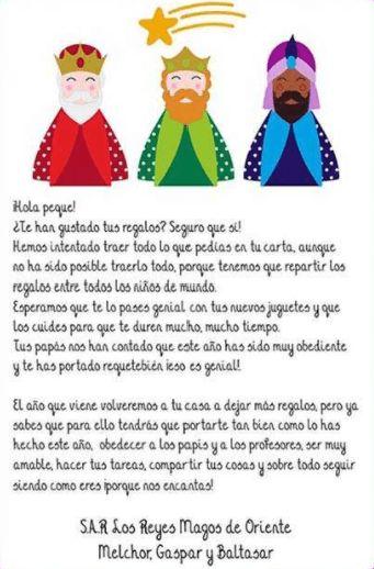 carta de agradecimiento de los reyes magos para todos los niños del mundo