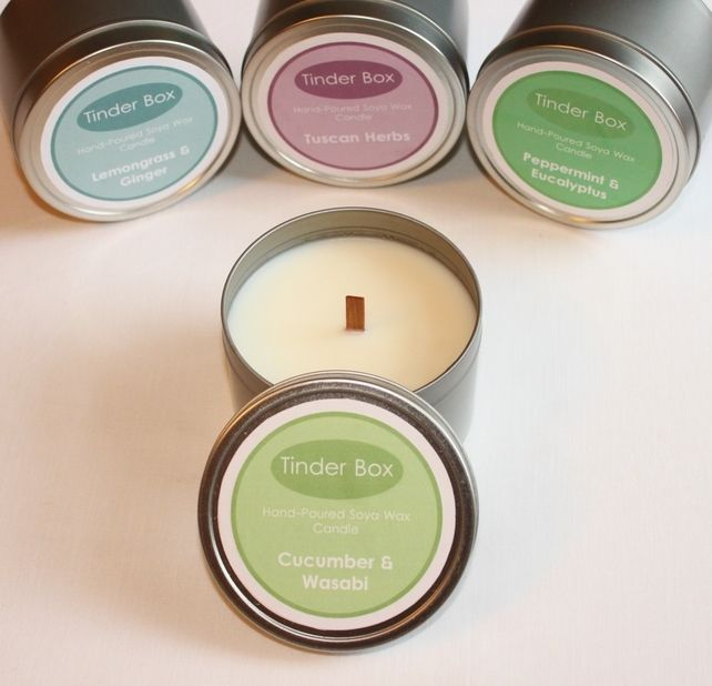 Large Cucumber & Wasabi Scented Soya Wax Candle (300ml Tin)