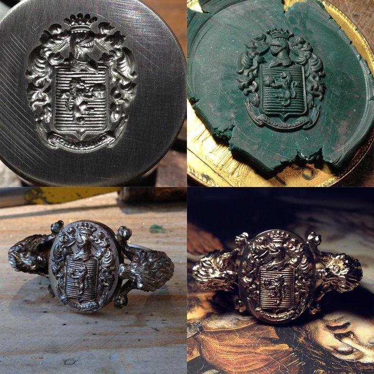 Gold signet ring - Chevaliere realizzato con l'antica tecnica del conio,