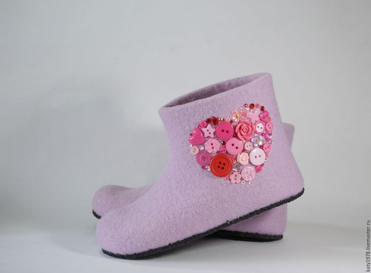 "Buy Children woolen slippers ""My heart"" - children shoes, slippers, handmade shoes, felting"