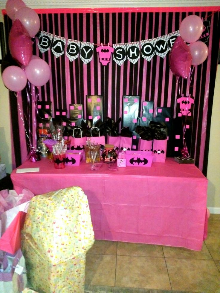 Batman Pink Baby shower theme for a baby shower.