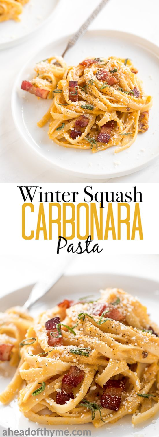 If you're a lover of traditional carbonara, you are going to go crazy over this winter squash carbonara pasta made creamy with roasted butternut squash! | aheadofthyme.com