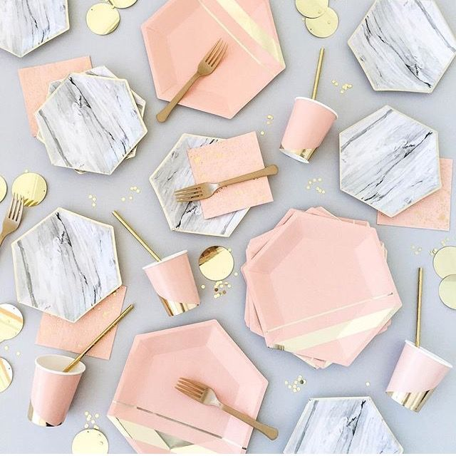 Absolutely beautiful disposable tableware for a super chic party. Rose quartz and marble.