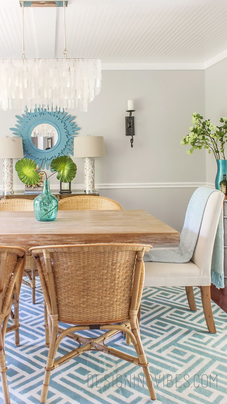 modern rattan chairs in dining room coastal. kid friendly dining room decor.