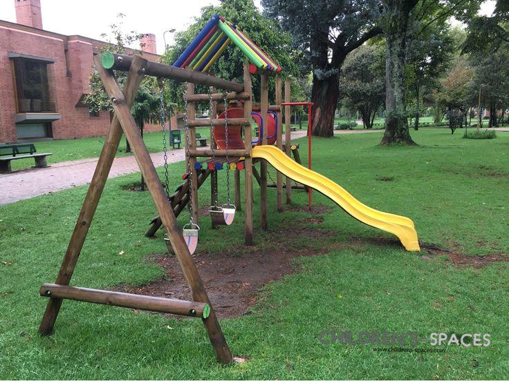 Parque en madera y rodadero resbaladero en fibra parque parques parqueinfantil