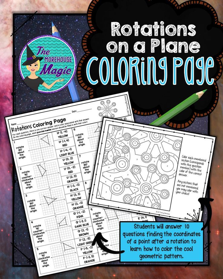 Rotations on a Coordinate Plane Coloring Page | Middle School Math