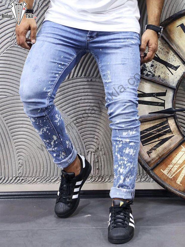 Boya Baskılı Mavi Kot Pantolon