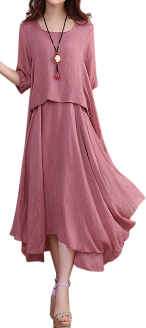 US$ 21.41 O-NEWE Elegant Solid 3/4 Sleeve Ruffled Irregular Dress For Women