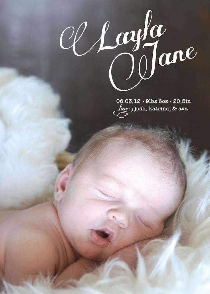 Baby Announcement & Photo   Twelve12 Design