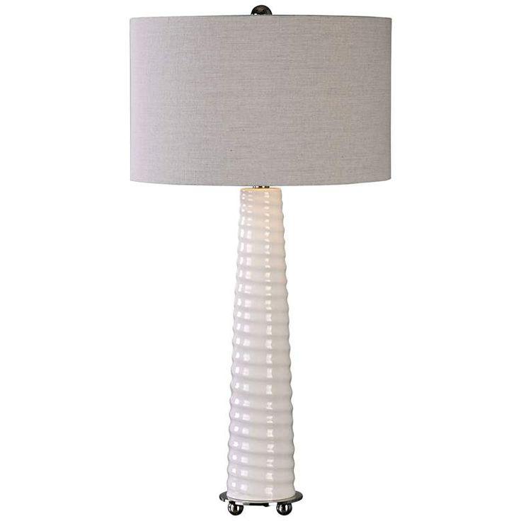 Uttermost Mavone Gloss White Glass Buffet Table Lamp 1g152 Lamps Plus Table Lamp Glass Table Lamp White Table Lamp