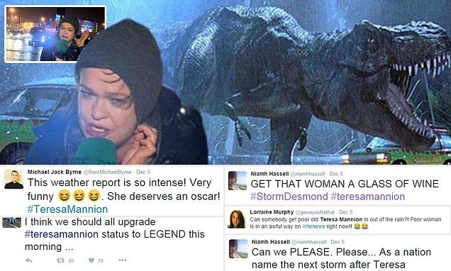 TV presenter Teresa Mannion has become an internet sensation thanks to a windswept report on Hurricane Desmond from her native Galway. Twitter users turned her into a meme featuring T-Rex.