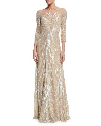 Mother of the Groom; 3/4-Sleeve+Illusion-Neck+Beaded+Gown+by+David+Meister+at+Neiman+Marcus.