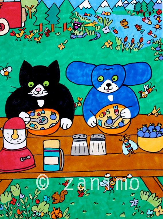 Gofrette and Blue enjoying a bowl of soup on their by Zanimo, $20.00